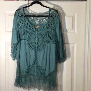 Democracy lace tunic with camisole 1X